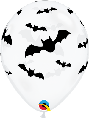 Halloween Latex Balloons | Bats (Clear) 6pcs | Free Delivery